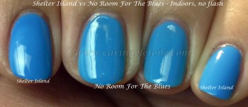 Essie OPI Shelter Island vs No Room For the Blues In SMacro No Flash