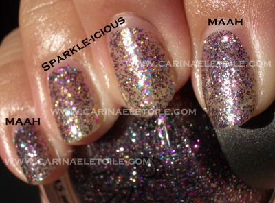 OPI Mad As A Hatter vs Sparkle-icious Sunlight