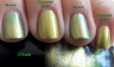 Chanel Péridot v Mac Immortal Gold shade