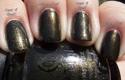 China Glaze Cast a Spell v China Glaze Wagon Trail