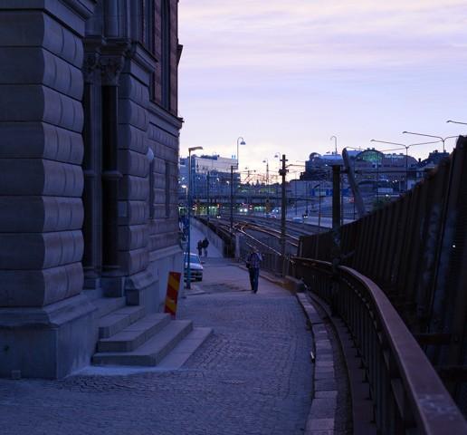 Back across railway bridge