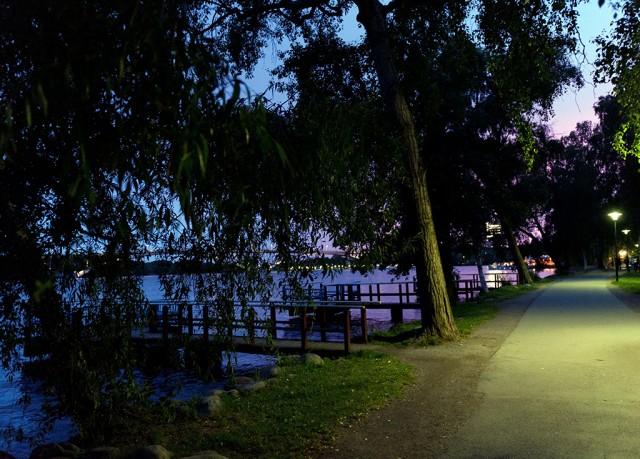 Wooden docks at night